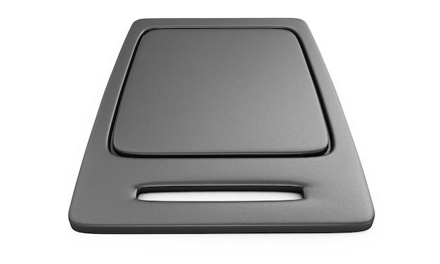 Пустой красивый простой круглый пустой поднос из черного пластика. 3d визуализация. образец углерода
