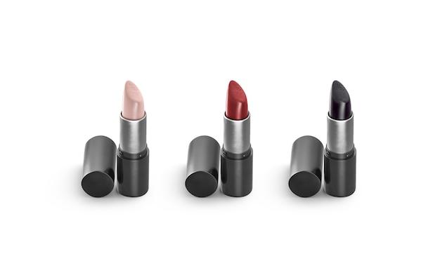 空白のベージュ、赤、黒の開いた口紅のチューブを模擬、