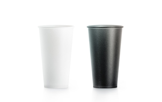 Blank big black and white disposable paper cup mock up isolated
