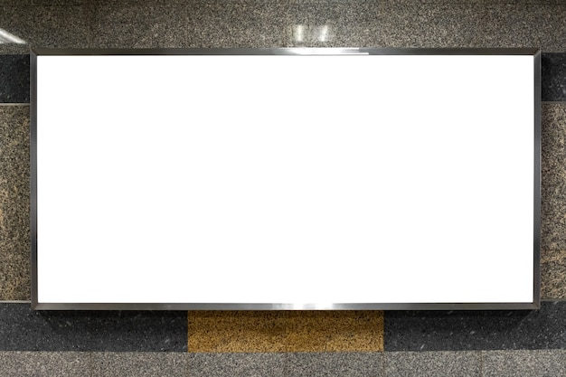 Blank billboard advertising in underground subway or public building with clipping path in frame