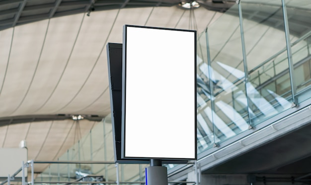 Blank billboard in the airport,empty advertising billboard at aerodrome.