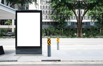 Blank billboard at bus stop outdoor advertise on street Mock up.