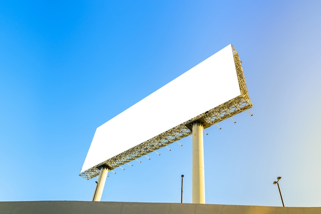Blank billboard at blue sky background for your moc up and montage