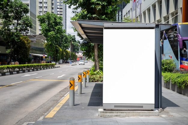 Blank billboard in the bus stop