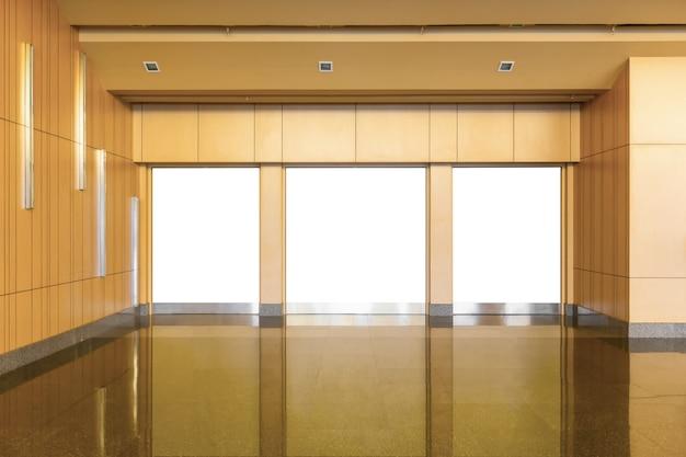 Blank billboard inside the exhibition hall center