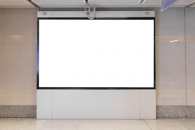 Blank billboard led in the subway station for advertising.