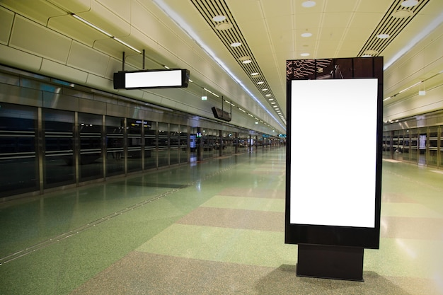 Blank billboard mock up of subway for text message or content.