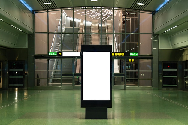 Blank billboard mock up of subway for text message or content