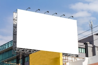 Blank billboard on the building
