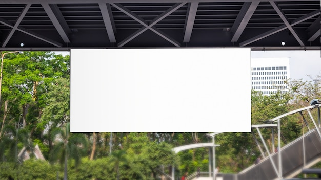 Blank billboard in railway station