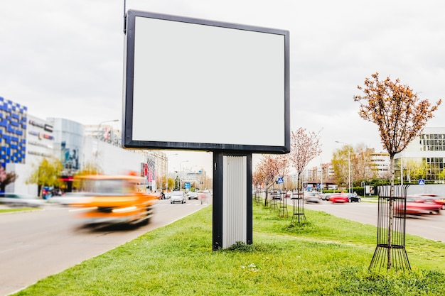 Blank billboard on the roadside