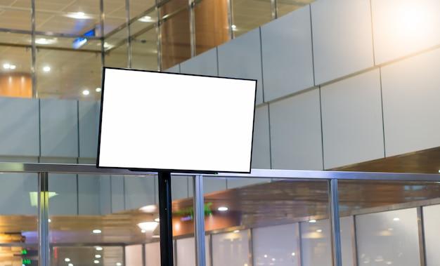 Blank billboard or signboard in the airport, empty advertising billboard at aerodrome.