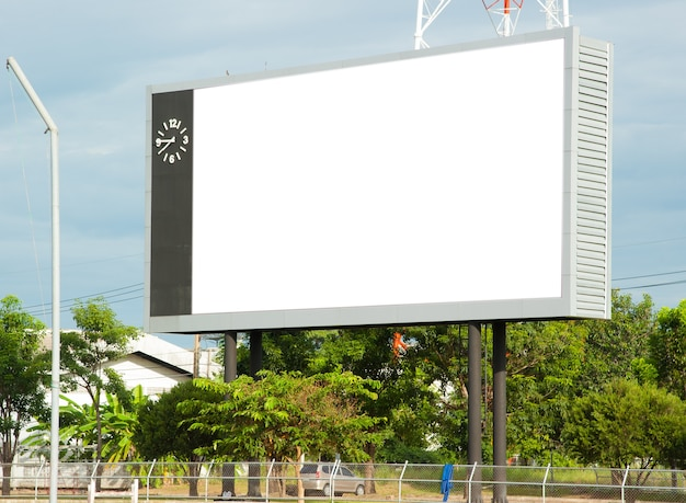 Blank billboard in stadium