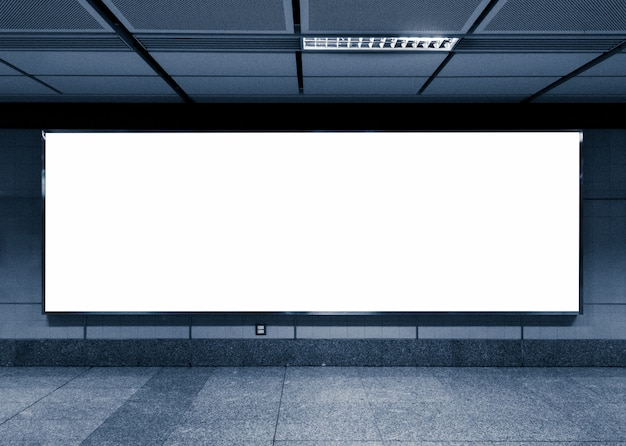 Blank billboard in subway