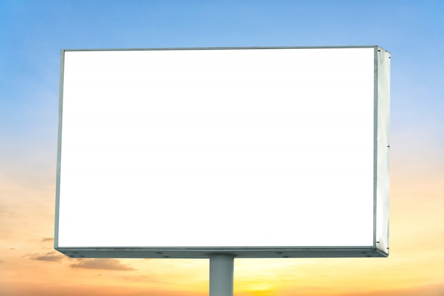 Blank billboard with empty screen and beautiful cloudy sky for outdoor advertising poster.
