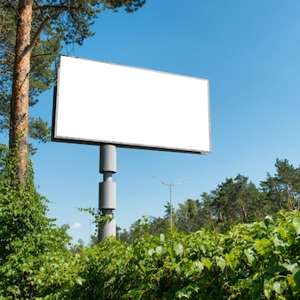 Blank billboard with empty space for advertising isolated on white