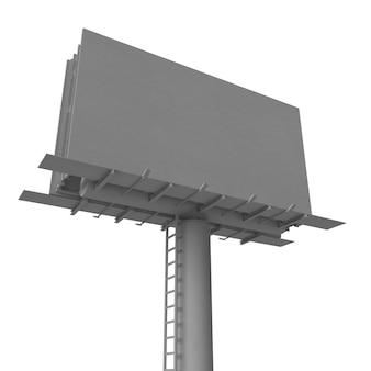 Пустой рекламный щит с прожекторной рекламой, изолированные на белом фоне