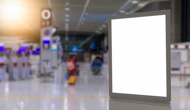 Blank billboards in the airport