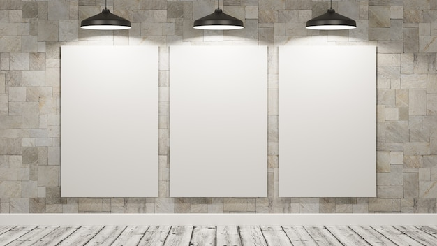 Blank billboards in the room illuminated by lamps