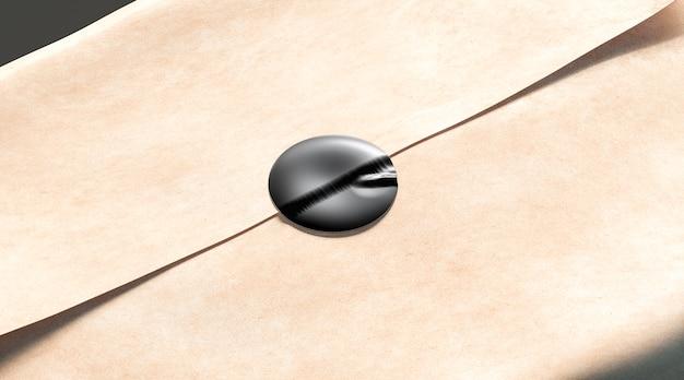 クラフト包装紙に空白の黒い粘着ステッカー