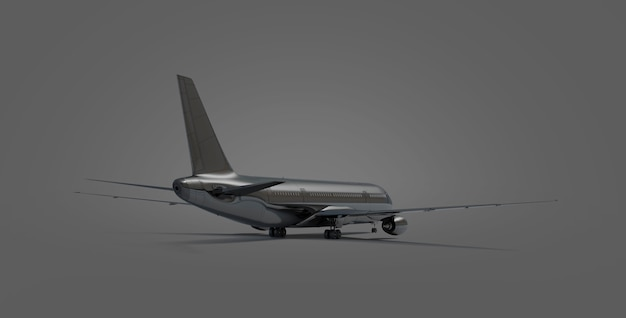 Blank black airplane isolated