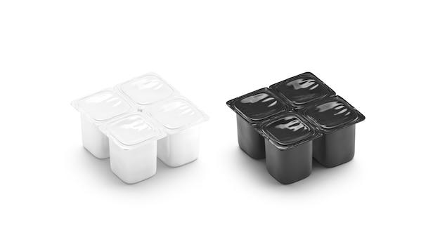 Пустой черно-белый набор макетов коробки для йогурта из 4 пакетов, изолированный