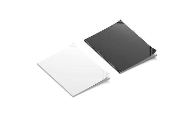 빈 흑백 닫힌 잡지 모형 깨끗한 카탈로그 표지 모형 저널 브로셔 모델