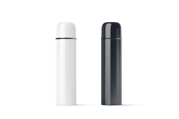 空白の黒と白の閉じた旅行魔法瓶
