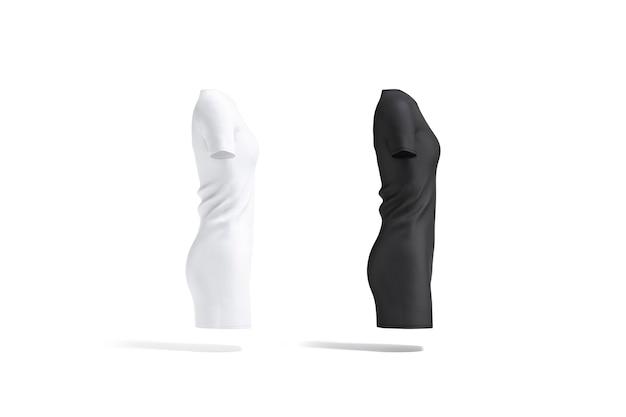 空白の黒と白の布のドレスのモックアップセットの側面図空のミディガウンまたは長いtシャツのモックアップ