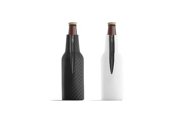 Пустые черно-белые складные пивные бутылки koozie набор, изолированные, 3d-рендеринг.
