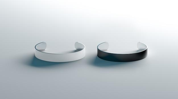 Пустой черный и белый манжеты браслеты макет