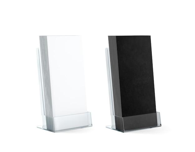 空白の黒と白のチラシは、ガラスのプラスチックホルダーにモックアップを積み重ねます
