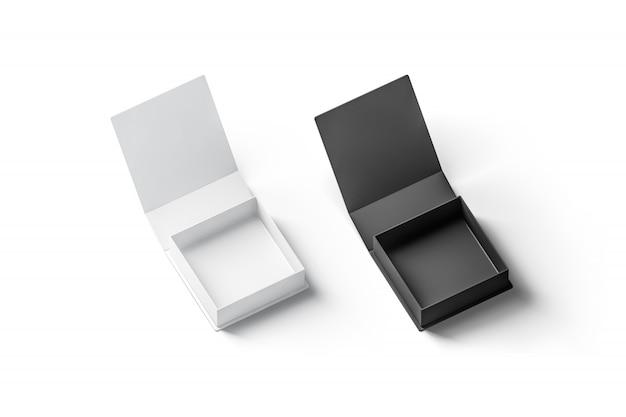 空白の黒と白のオープンギフトボックス