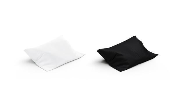 Набор макетов пустой черно-белой подушки, вид сбоку