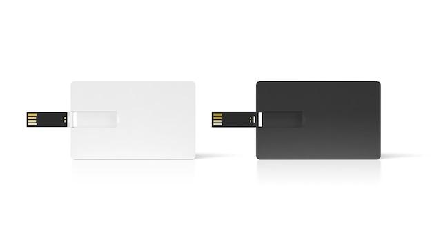 Пустой черный и белый пластиковый вафельный макет usb-карты