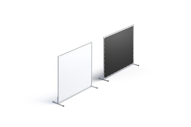 Набор макетов пустой черно-белой пресс-стены, вид сбоку