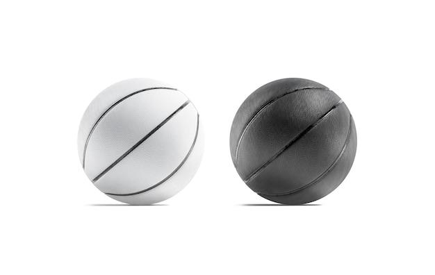 スポーツ競技のモックアップのための空白の黒と白のゴム製バスケットボールボールモックアップテクスチャバル