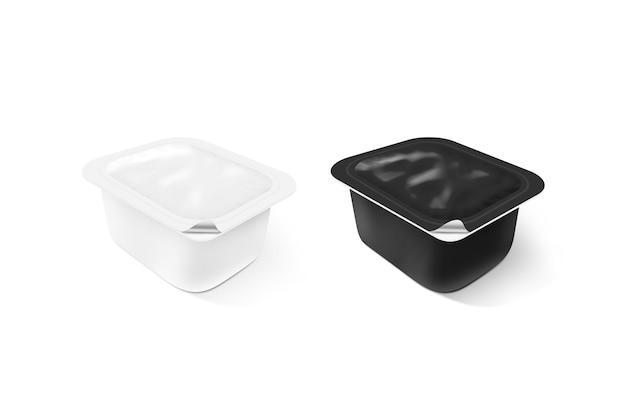 Пустой черный и белый пластиковый контейнер соуса макет стенда изолированные Premium Фотографии