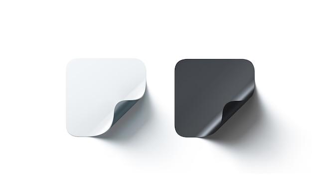 Пустые черные и белые квадратные клейкие наклейки изогнутый угол