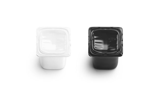 Пустой черно-белый набор коробки йогурта изолирован Premium Фотографии