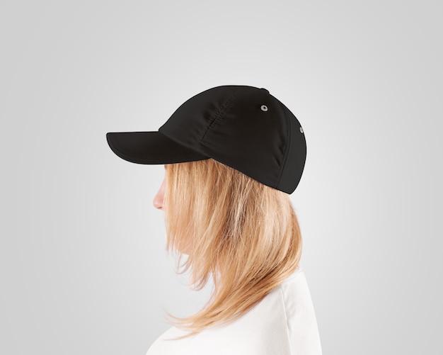 Blank black baseball cap  template, women head, profile, isolated