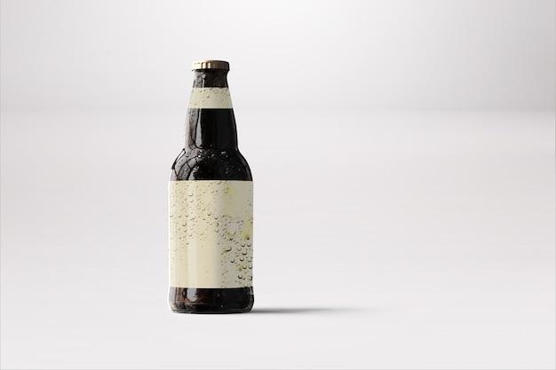 空白の黒いビール瓶のモックアップラベル、分離。ダークアルコール飲料ボトルのモックアップ。オクトーバーフェストのコンセプト。