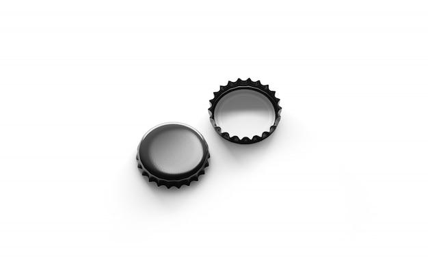 Blank black beer lids mockup