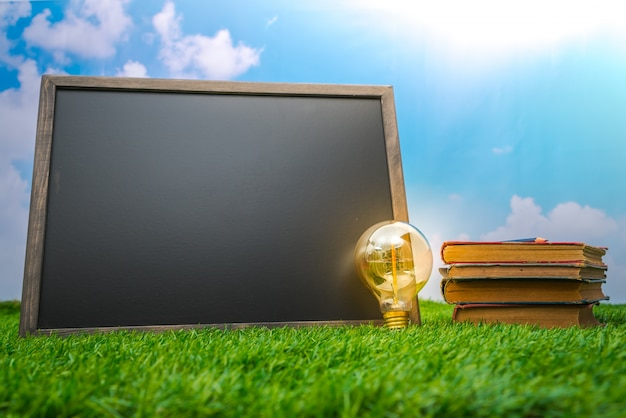 Пустой черный картон и лампочки на траве поля