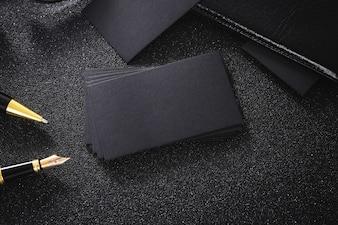 Blank black business card mock up black background for use us contact information design templete