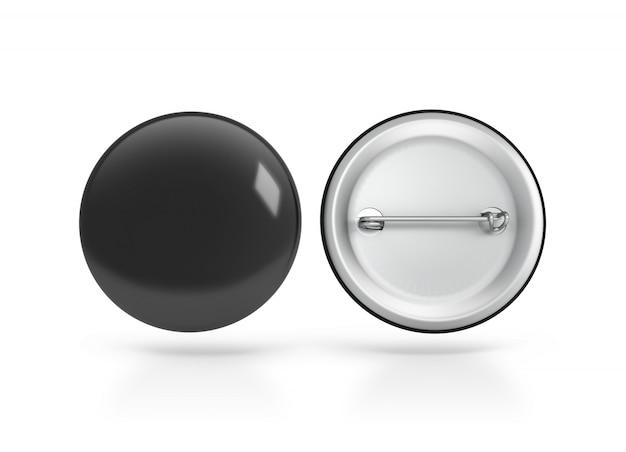 Blank black button badge , front back side
