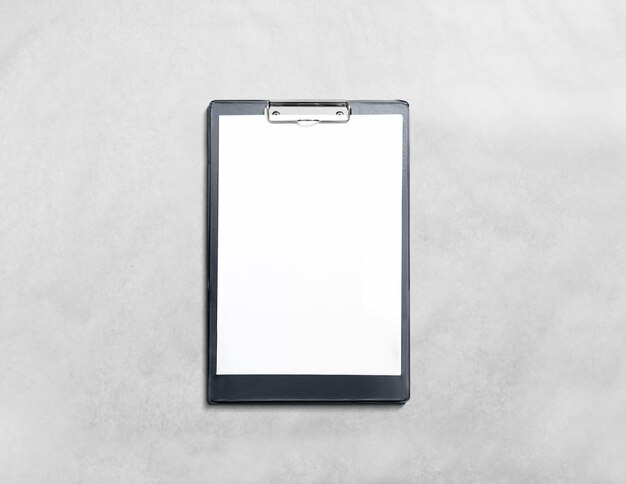 Blank black clipboard with white page