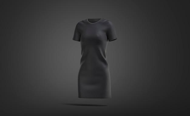 Пустое черное тканевое платье, темная поверхность, 3d-рендеринг.