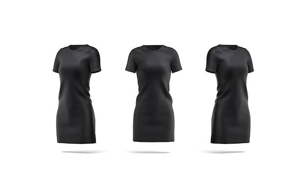 빈 검은 천 드레스 모형 전면 및 측면 보기 빈 여성 저지 티셔츠 긴 드레스 조롱