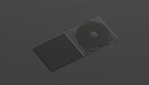 Blank black compact disk case mock up opened, side view, isolated